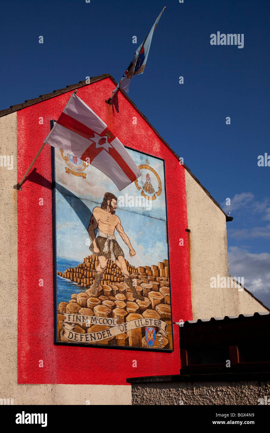 Finn MacCool mural in Bushmills, Antrim, Northern Ireland - Stock Image