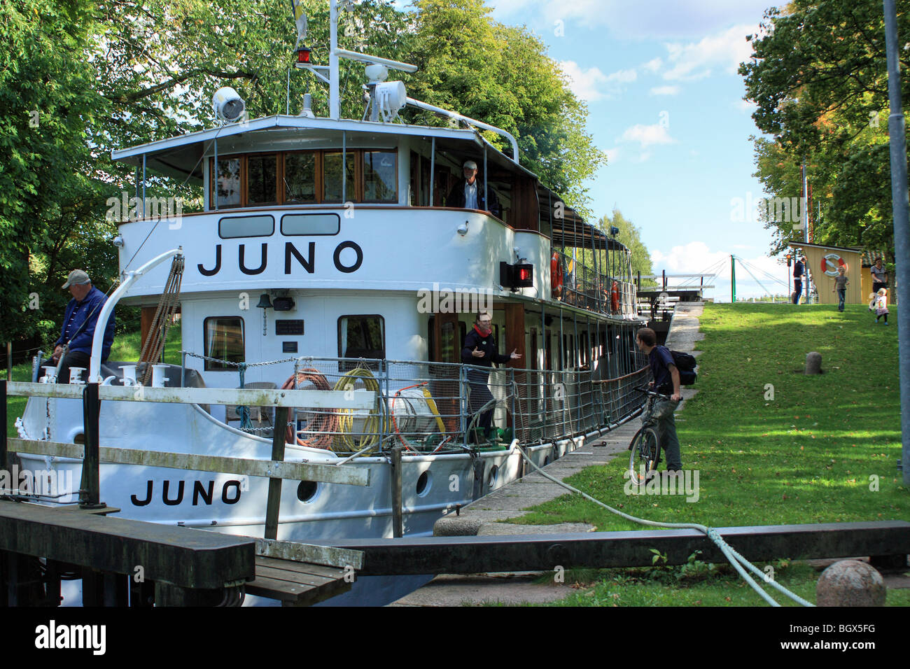 The old passenger ship M/S Juno, IMO 8634132, passing Göta Canal, Sweden. Stock Photo