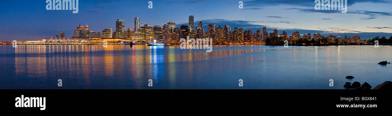 Vancouver waterfront and city skyline at dusk, British Columbia, Canada. Original file 345 MB - Stock Image