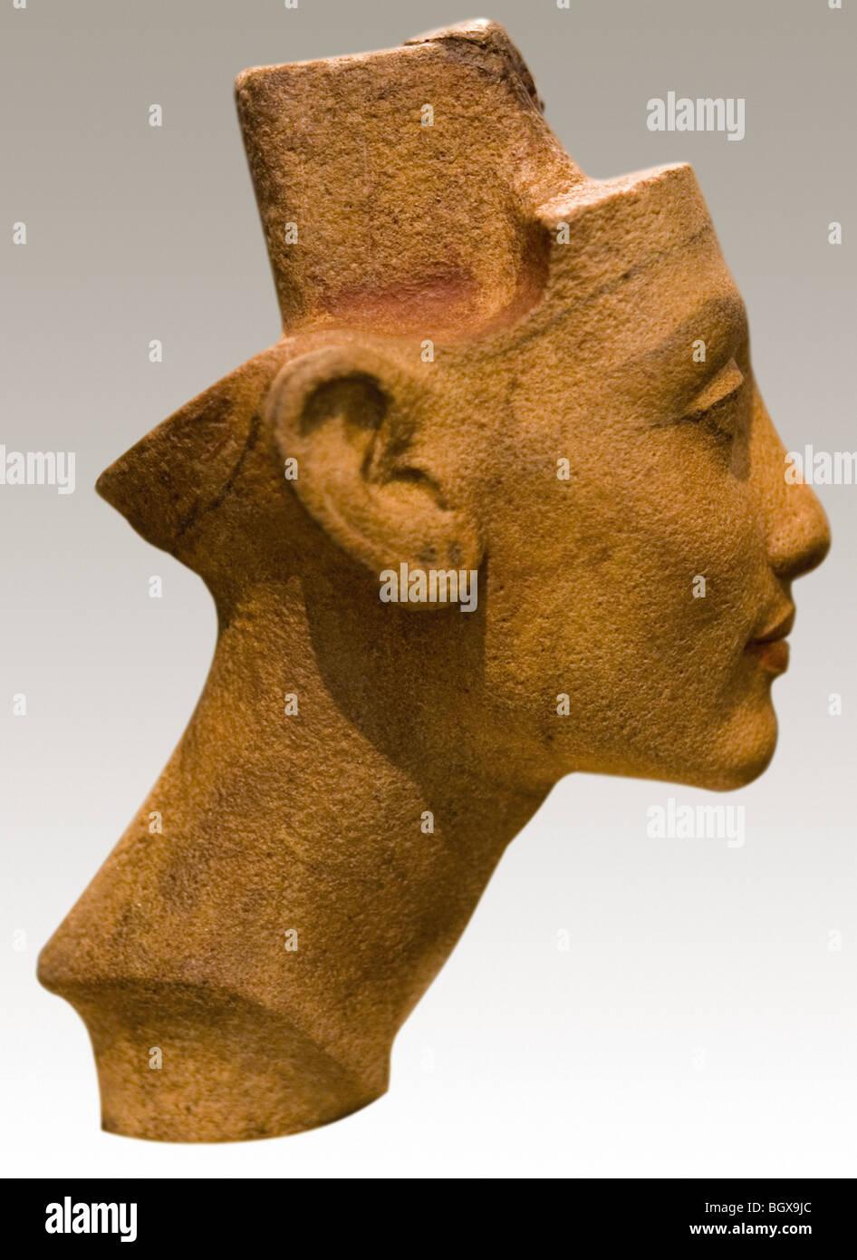 The portrait head of Queen Nefertiti in Sandstone Quartzite on display in the Berlin Museum, Germany Stock Photo