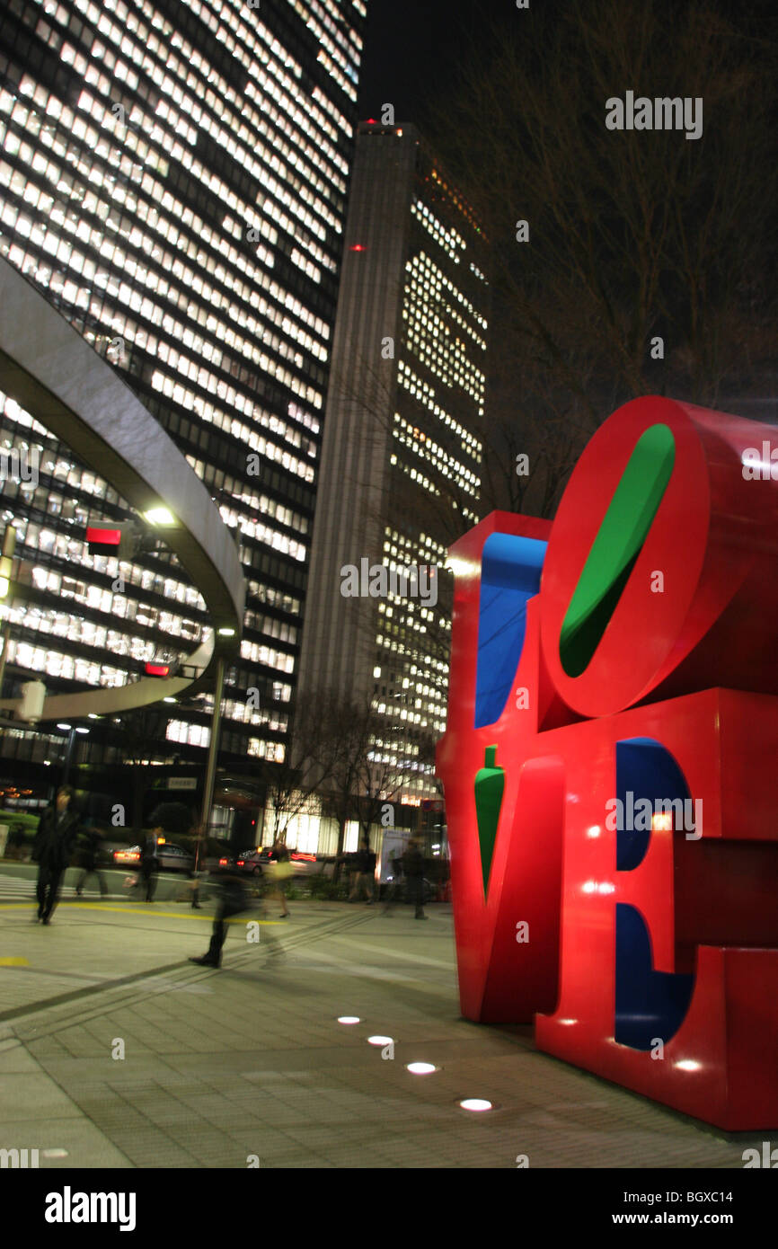 View of 'LOVE' sculpture by American artist Robert Indiana, in the Nishi-Shinjuku district, Tokyo, Japan, 2007 Stock Photo