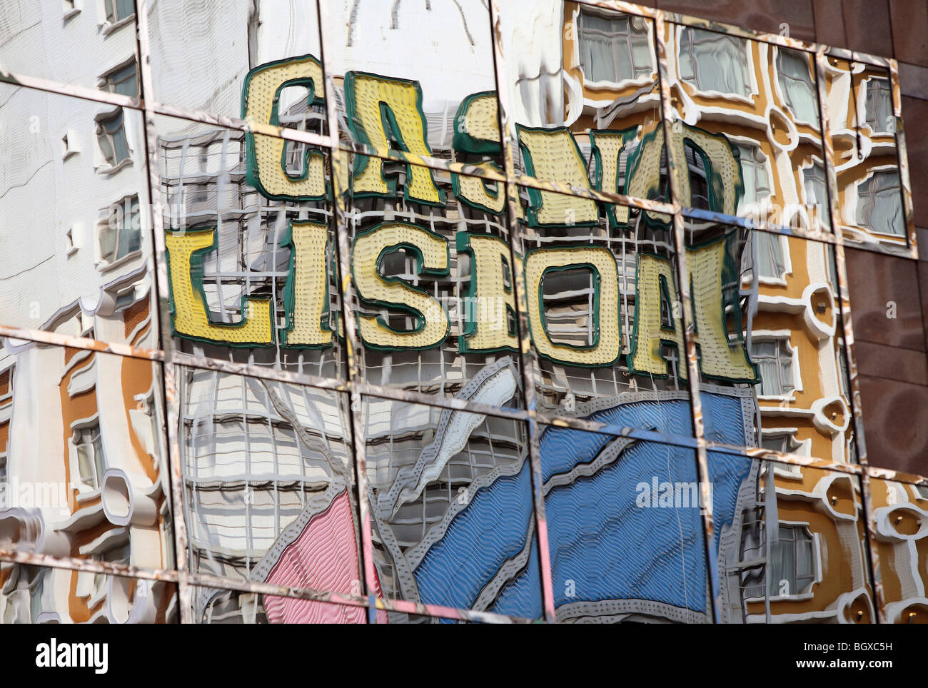Lettering of Casino Lisboa reflected on windows, Macao, China - Stock Image