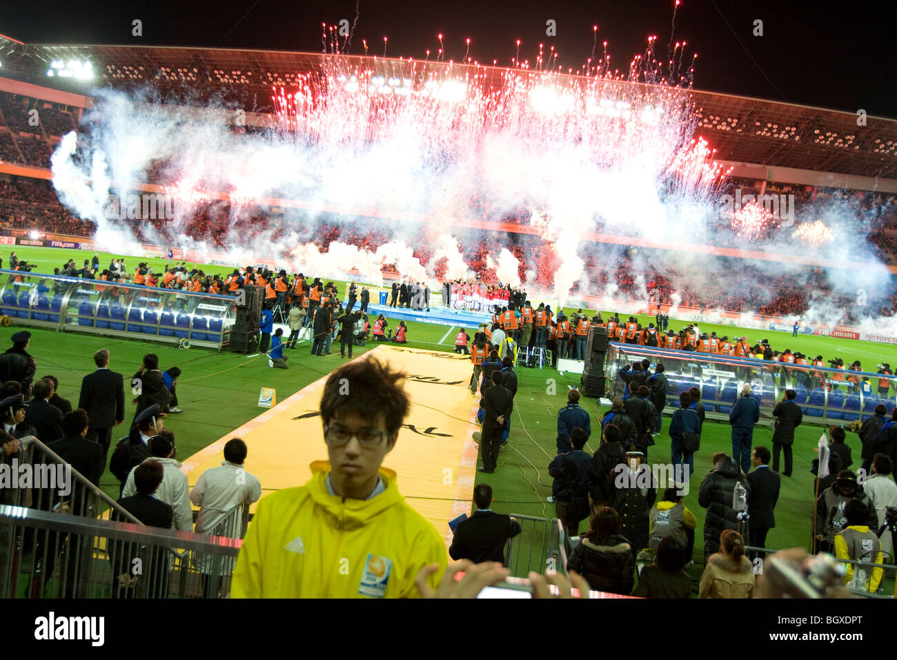 Manchester United beat Liga de Quito,1-0, in the final of the 2008 FIFA Club World Cup, at the Nissan Stadium, Japan. - Stock Image