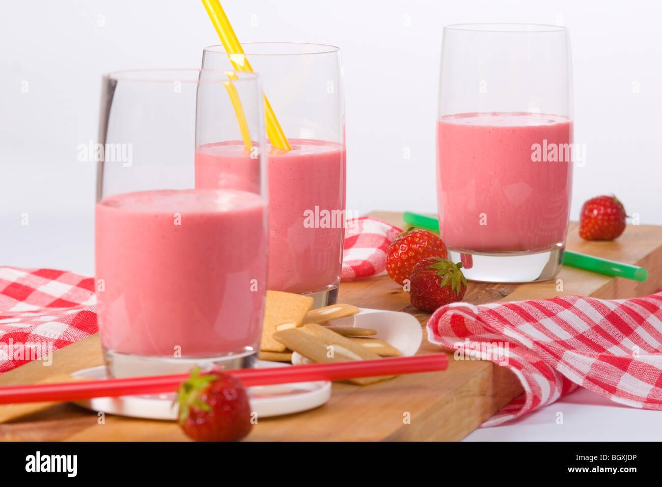 Three milk shakes - Stock Image