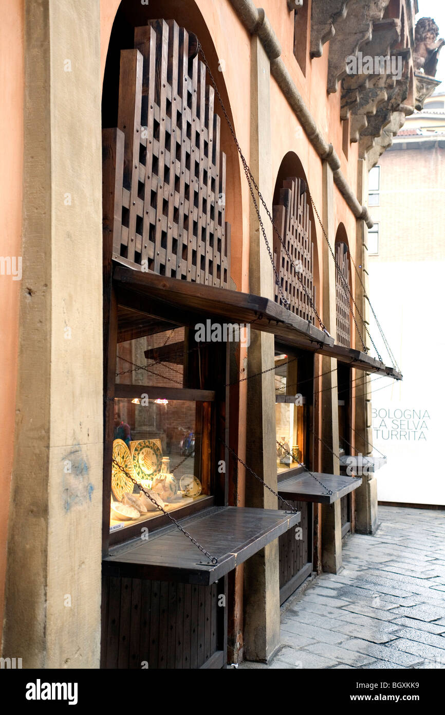 Shop fronts in Bologna, Italy - Stock Image