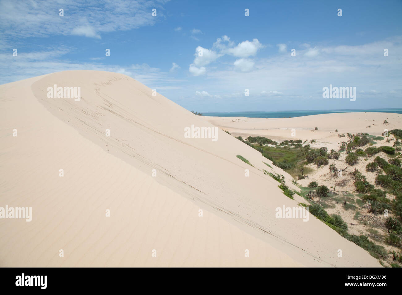 view from the dune on bazaruto island mozambique east africa stock
