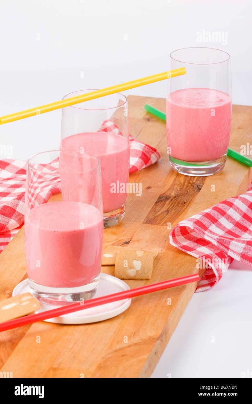 strawberry milk - Stock Image