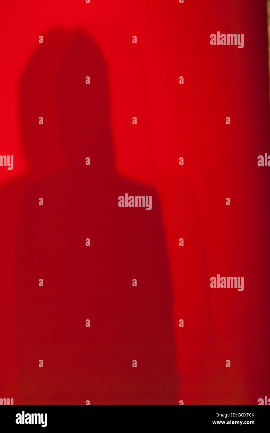 Shadow of figure human, speaker, against a red backdrop, at a conference. Stock Photo