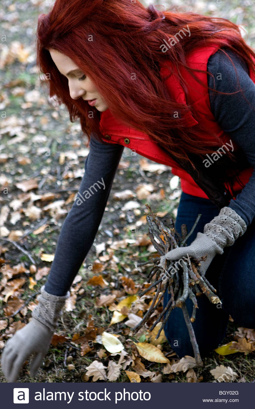 A young woman gathering twigs in autumn time - Stock Image