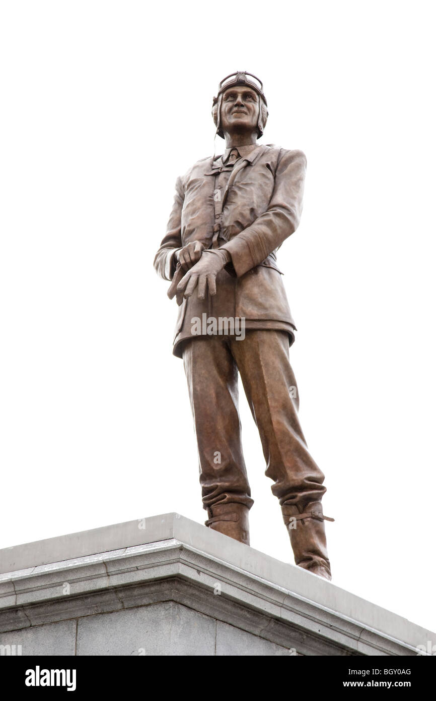 RAF war hero Sir Keith Park statue Trafalgar Square by Les Johnson on the fourth plinth Stock Photo