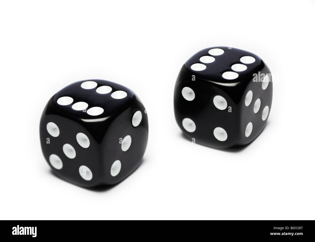 Pair of black dice - Stock Image