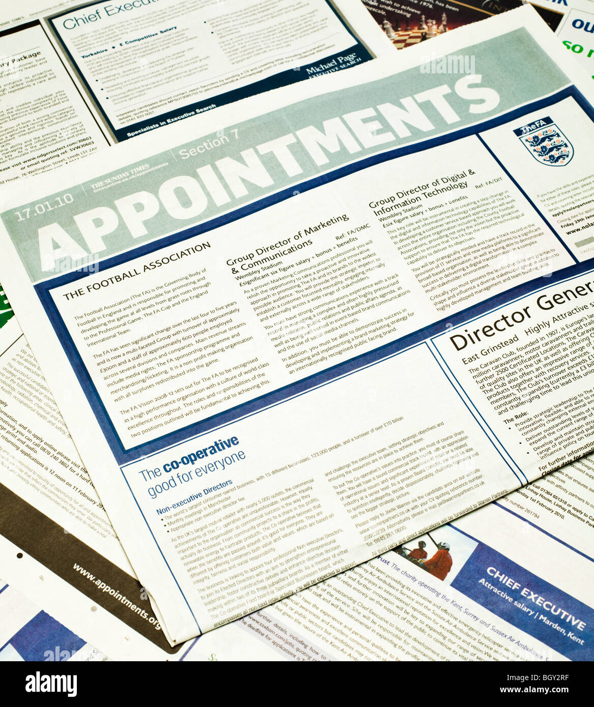 UK Newspaper Appointments section - Stock Image