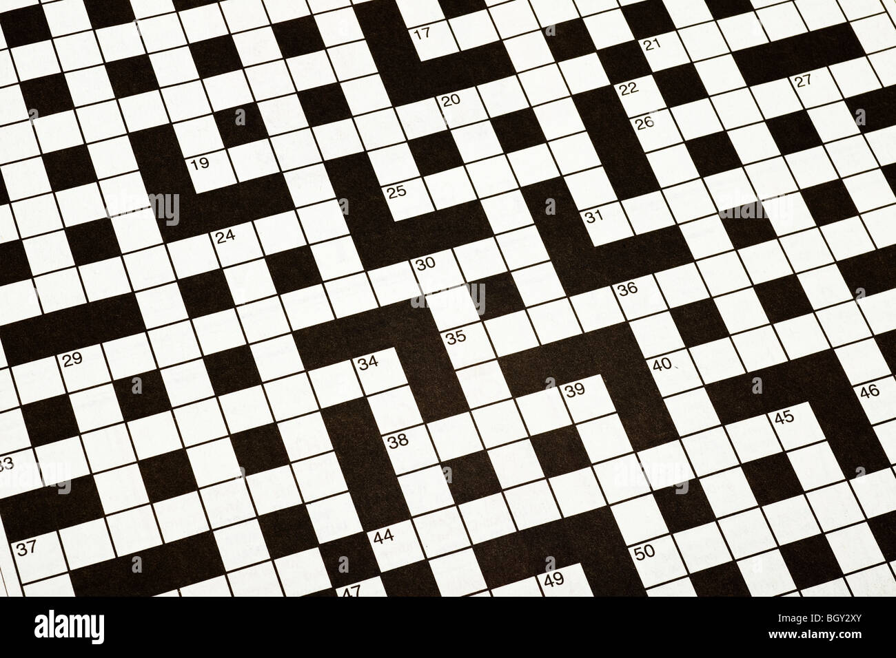 Crossword puzzle, blank, close up - Stock Image