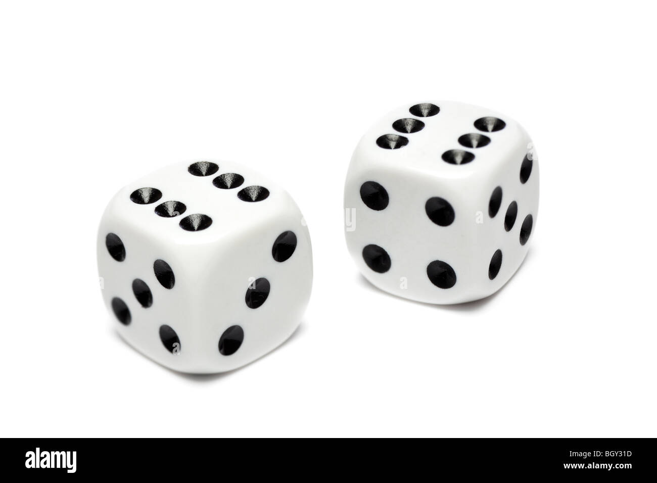 Pair of white dice - Stock Image