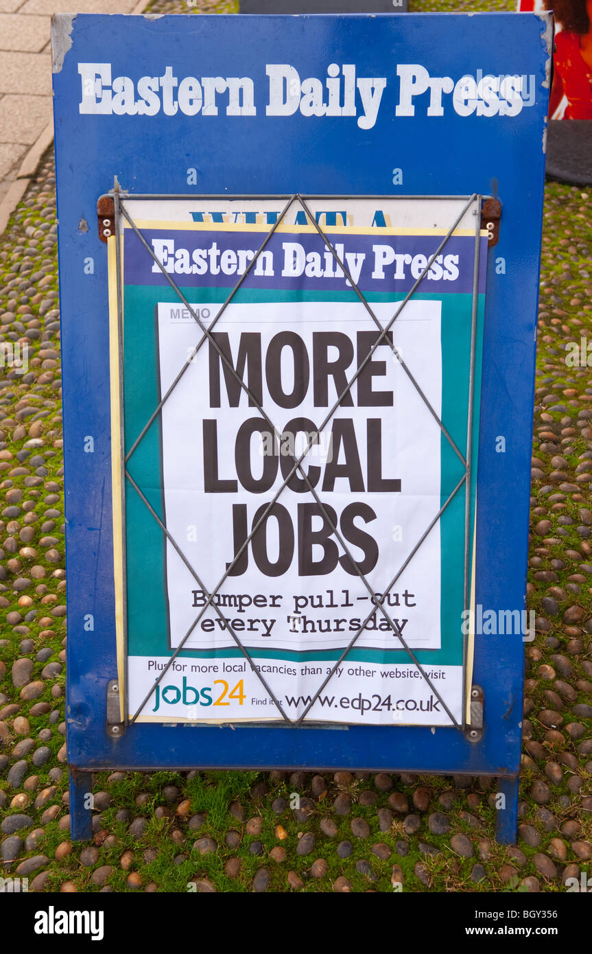 A sign advertising a job search section in the EDP newspaper in England , Britain , Uk - Stock Image