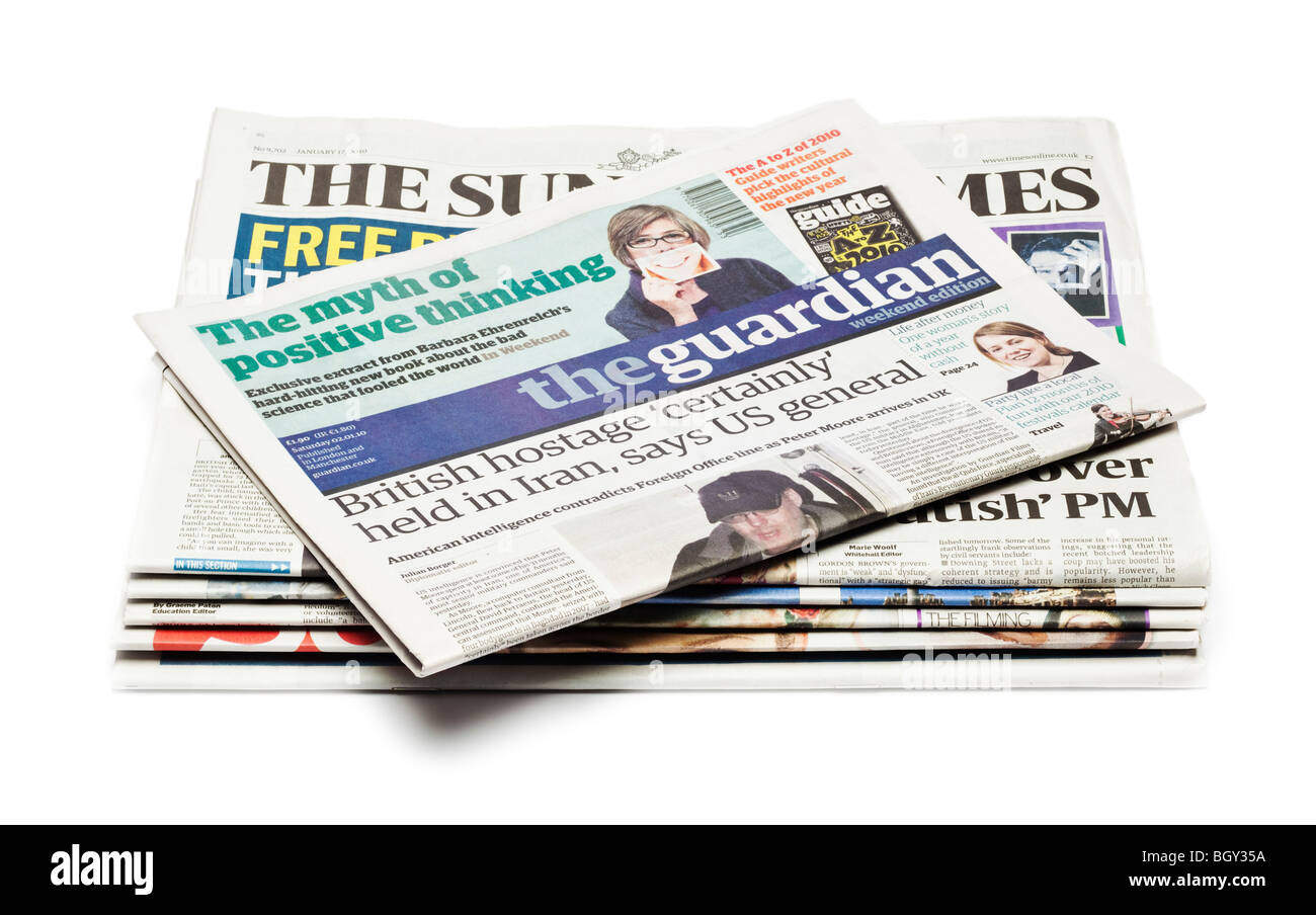 Pile of UK Newspapers - Stock Image