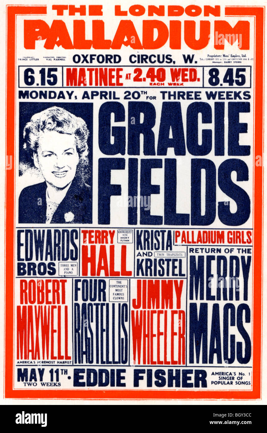 GRACIE FIELDS - UK singer on a poster for the London Palladium in 1953 - Stock Image