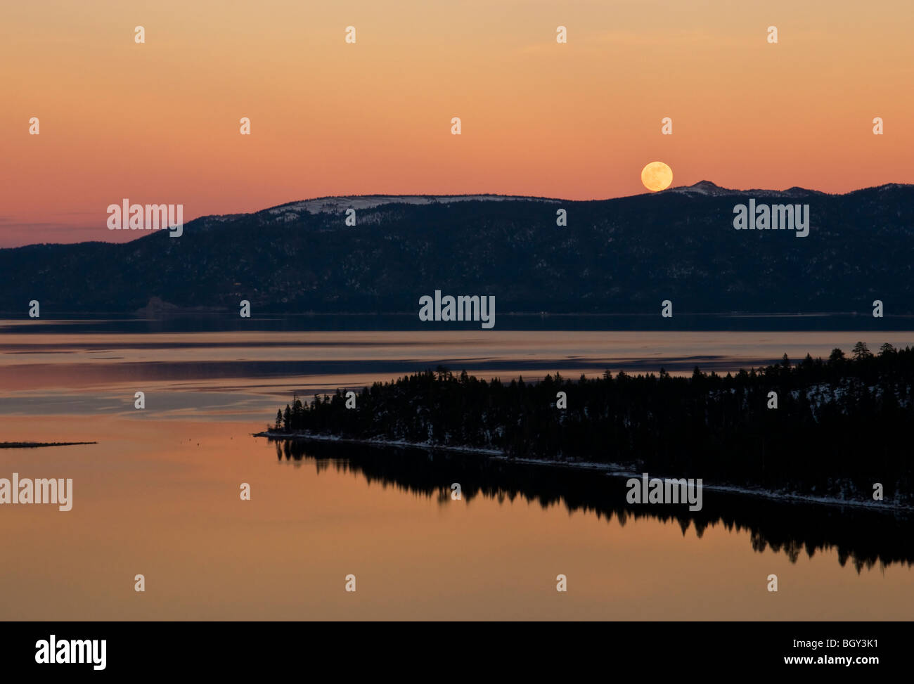 Moon rise above Lake Tahoe Emerald Bay - Stock Image