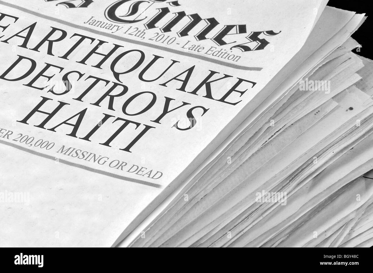 Newspaper documents the Haiti Earthquake of January 12, 2010 - Stock Image
