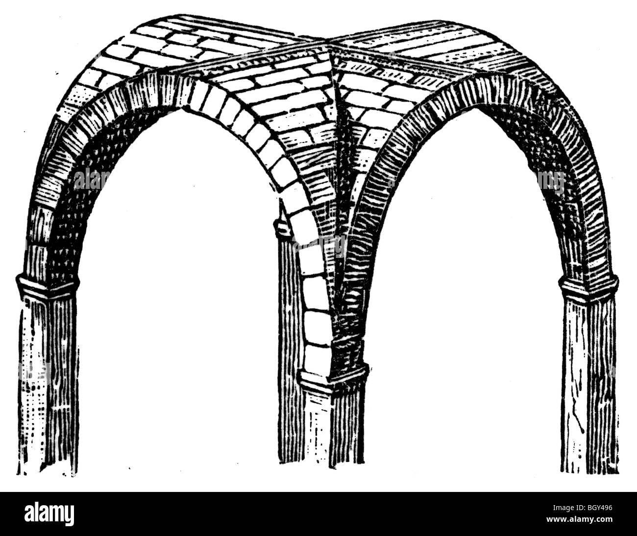 Cross vault, Roman Stock Photo