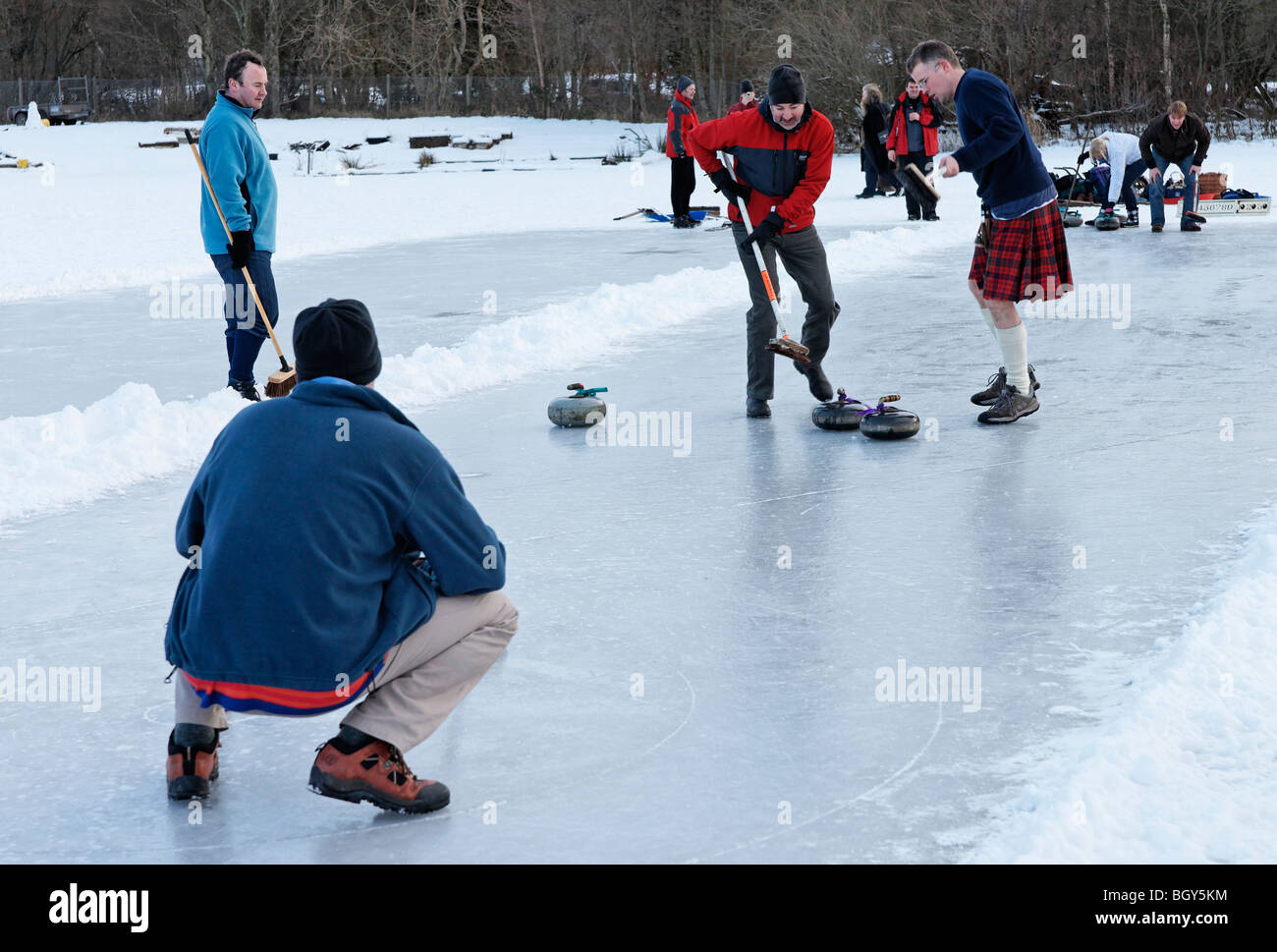 Curling match on the Lake of Menteith, Stirling, Scotland, UK - Stock Image