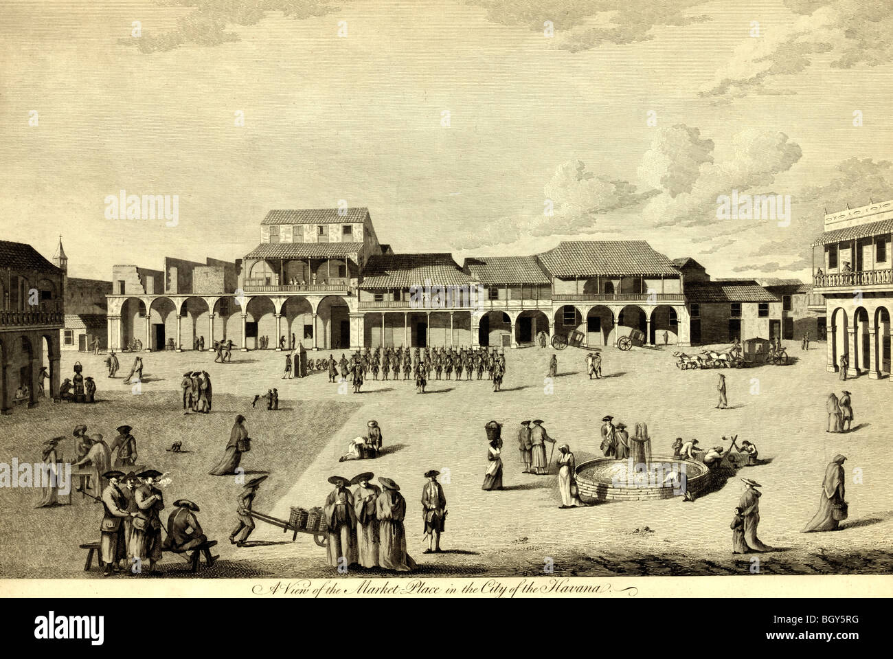 A view of the market place in the city of the Havana, Cuba, circa 1768 - Stock Image