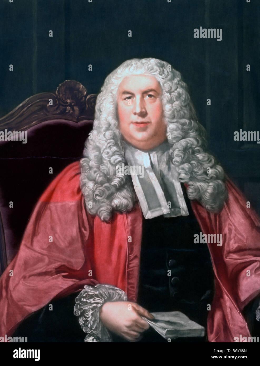 Sir William Blackstone (1723-1780), English Jurist, half-length portrait, seated, facing slightly left - Stock Image