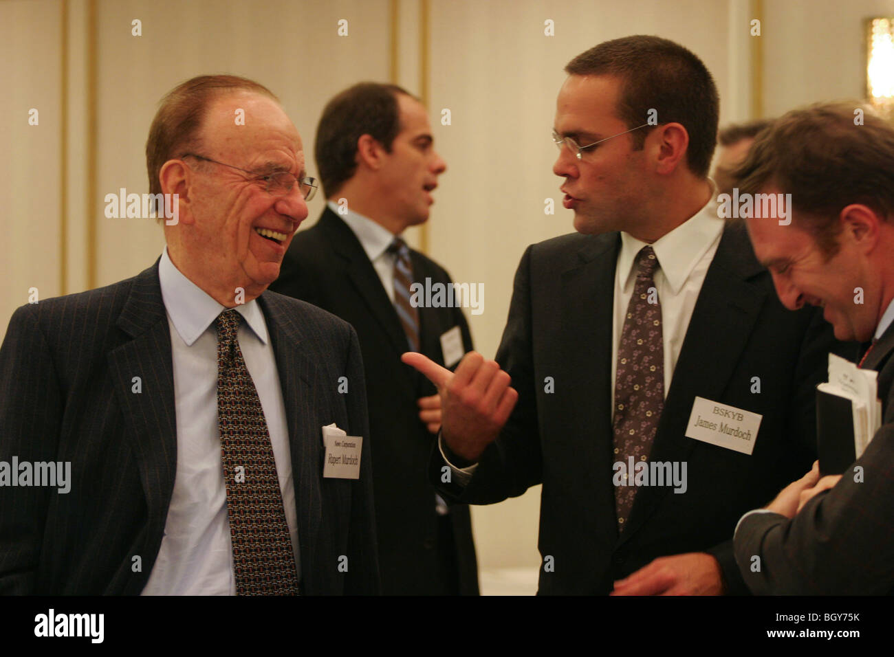 Rupert Murdoch, Chairman and CEO of News Corporation, and his son James, in Tokyo, Japan. - Stock Image