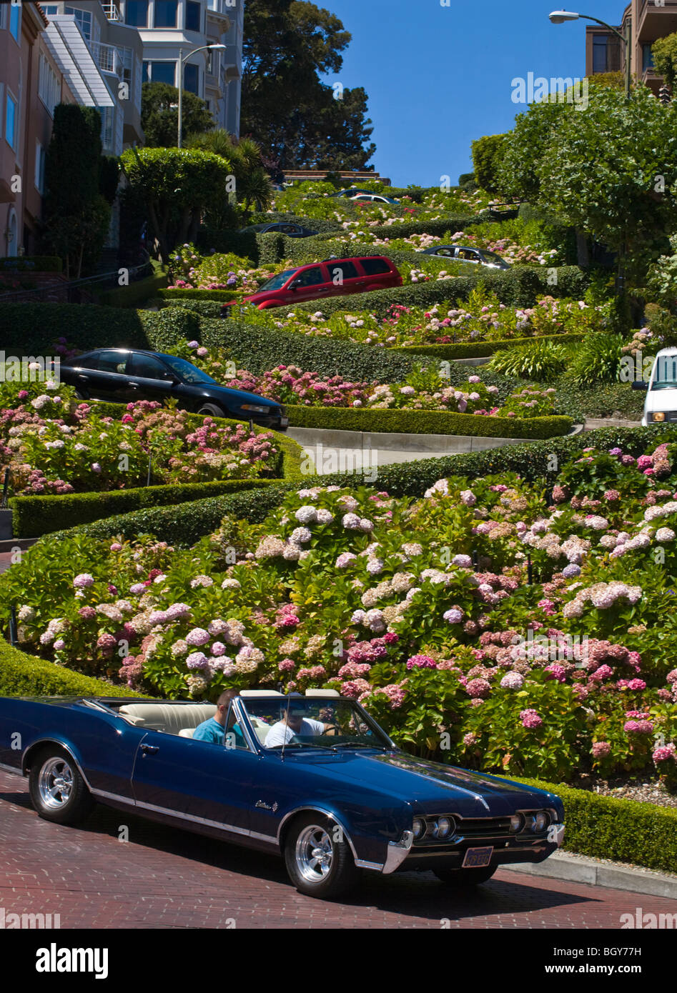 Tourists enjoy DRIVING the twists and turns of LOMBARD STREET - SAN FRANCISCO, CALIFORNIA - Stock Image