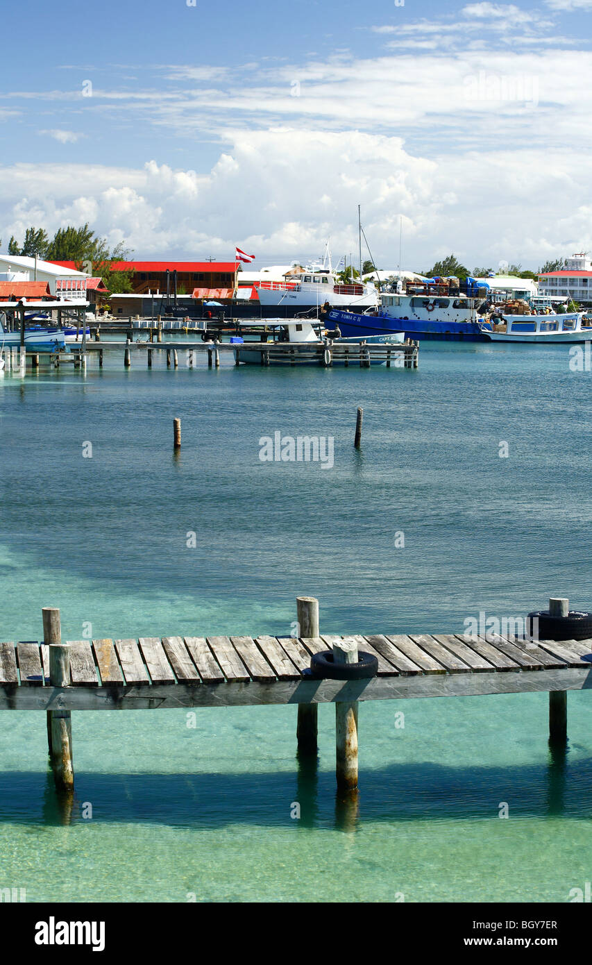 East Harbour seen from Utila Town, on the Island of Utila, Bay Islands, Honduras - Stock Image