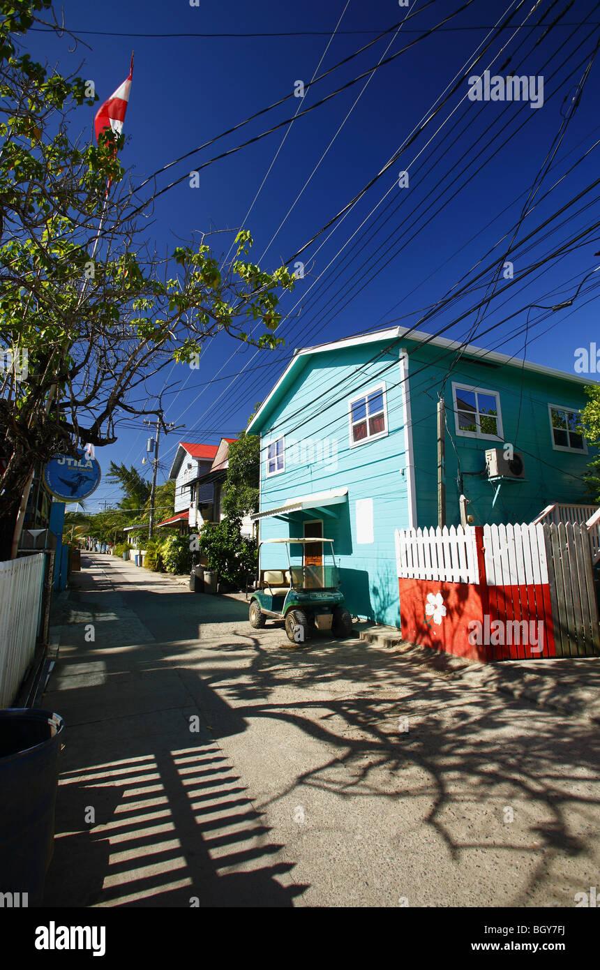 street scene in Utila, Honduras - Stock Image