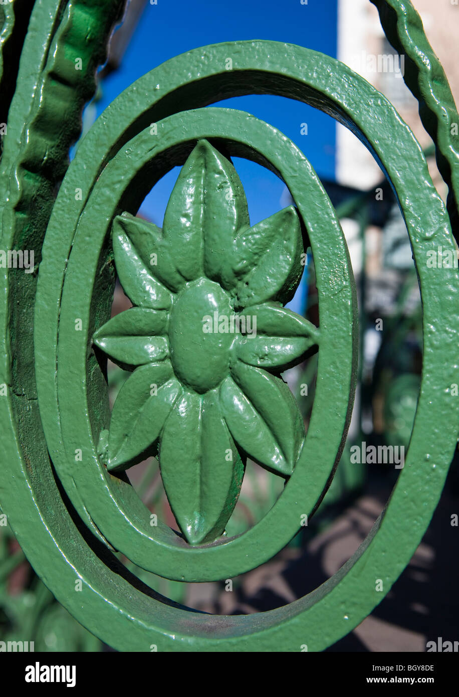 Iron work with flower painted green along the steps to the Daughters of the Confederacy building, Market and Meeting - Stock Image