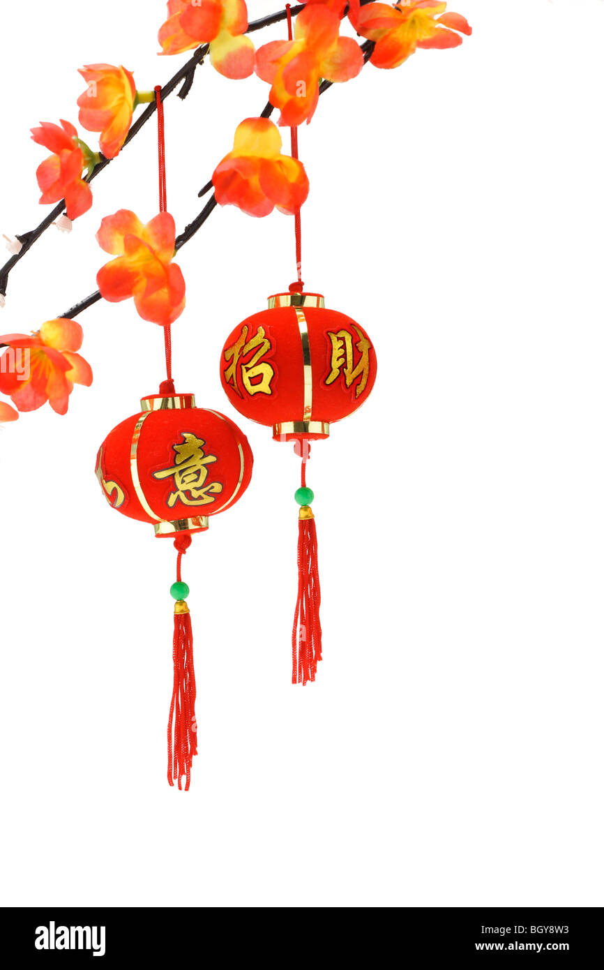 chinese new year lanterns and plum blossom ornaments on white background