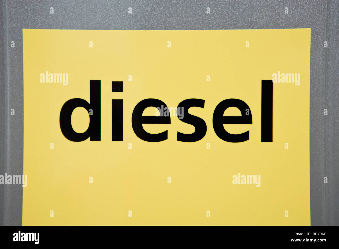 Diesel label on gas pump - Stock Image