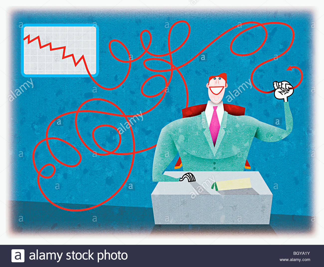 Businessman holding line graph - Stock Image