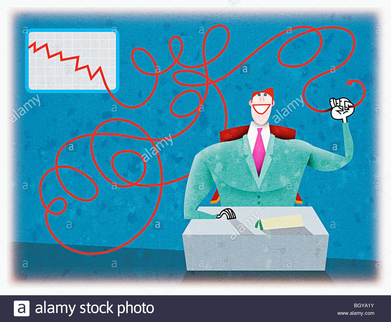 Businessman holding line graph - Stock Image