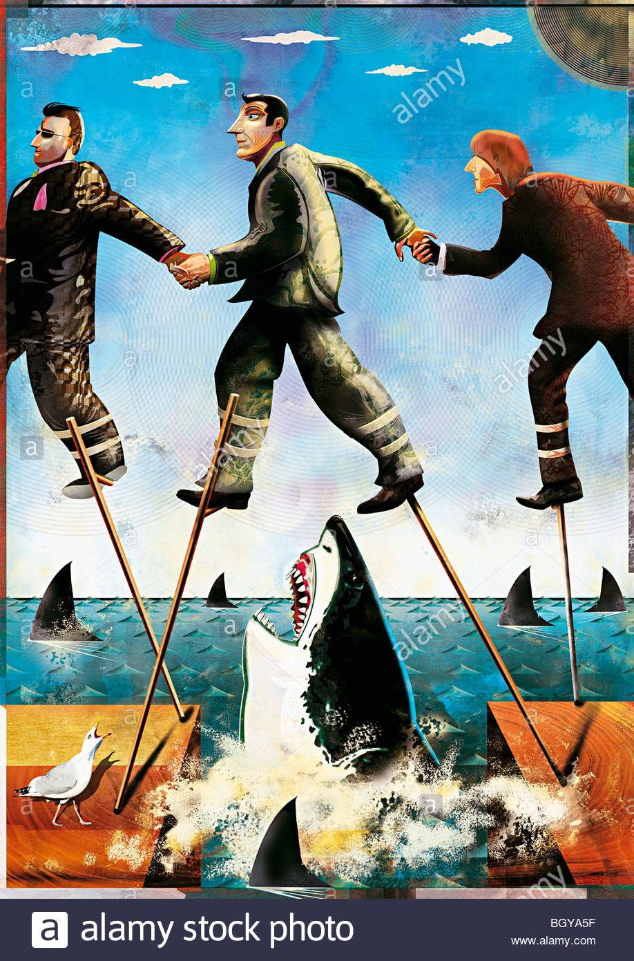Businessmen on stilts walking through shark-infested waters - Stock Image