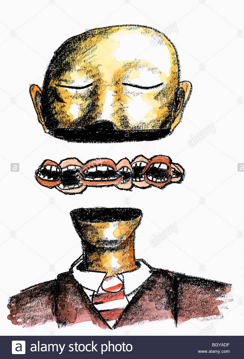 Man with separated head and many mouths - Stock Image