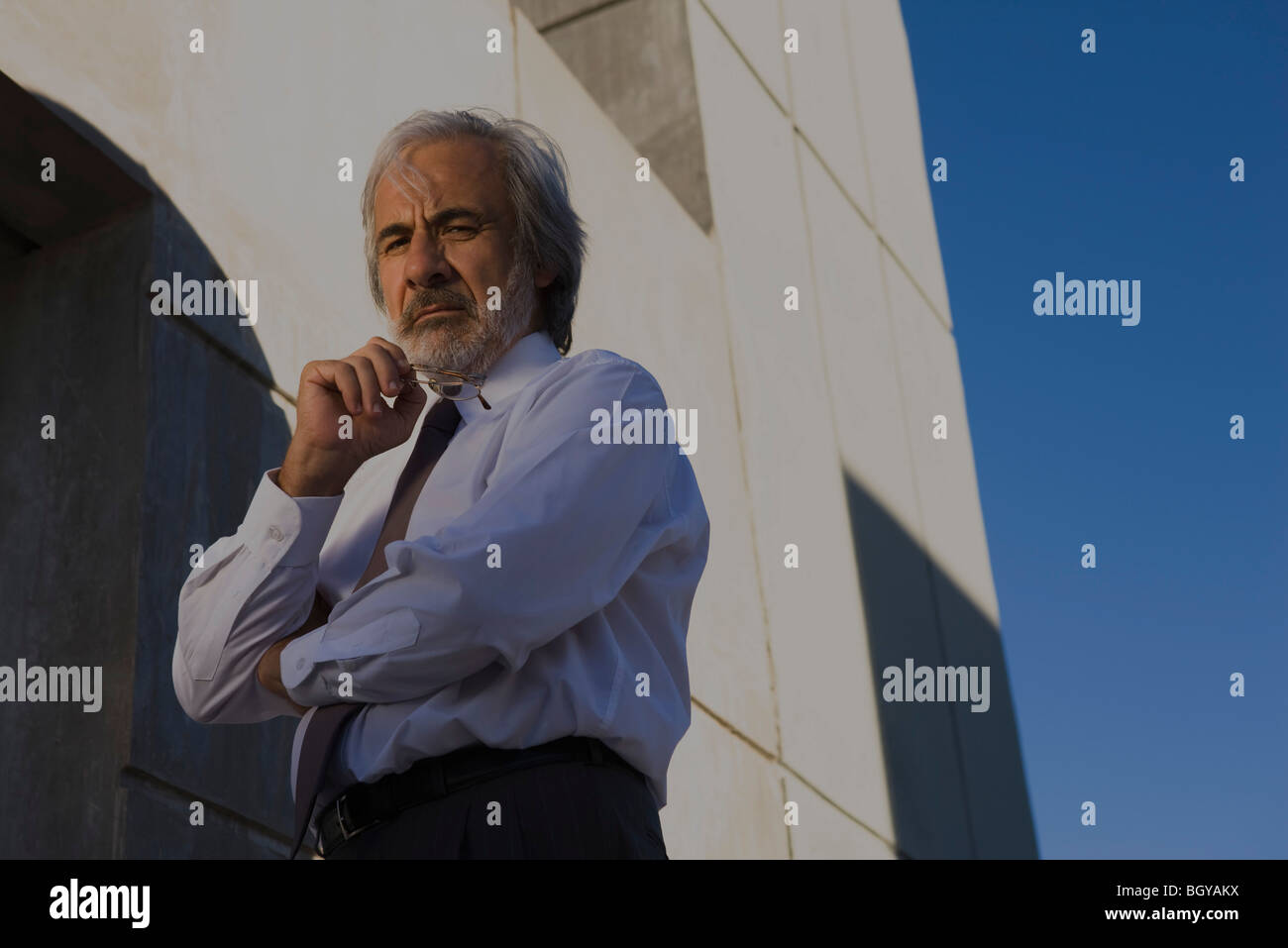 Businessman with hand under chin looking at camera, low angle view - Stock Image