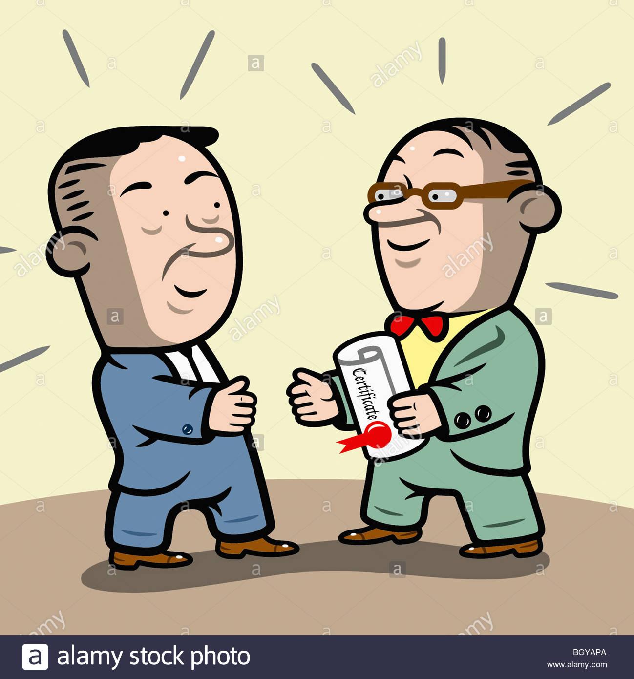 Professor handing man certificate - Stock Image