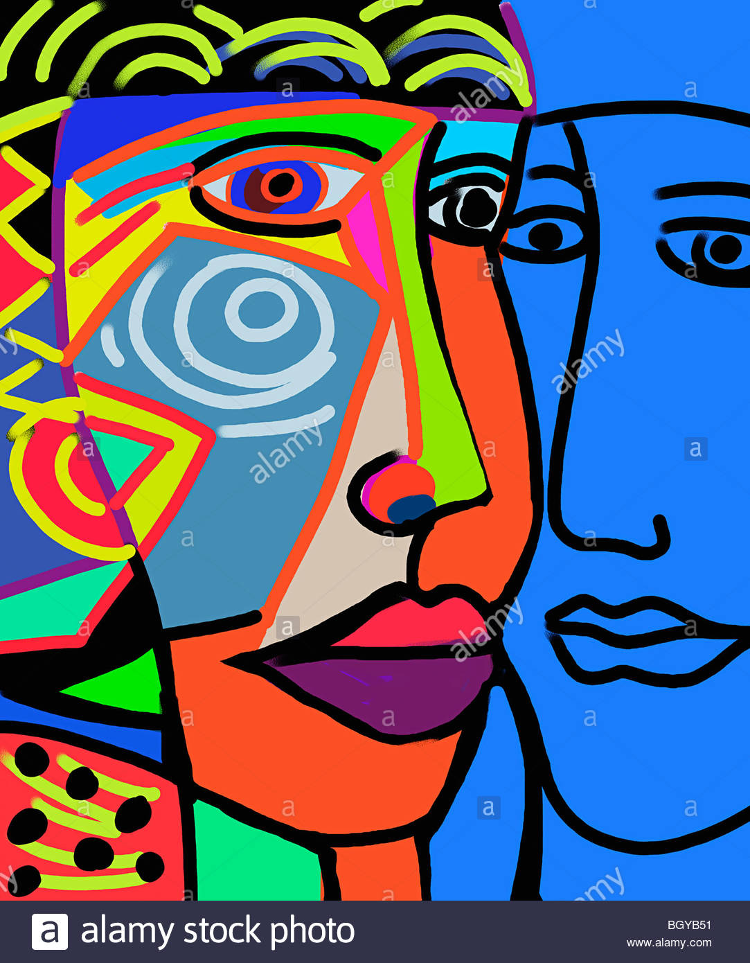 Modern art faces - Stock Image