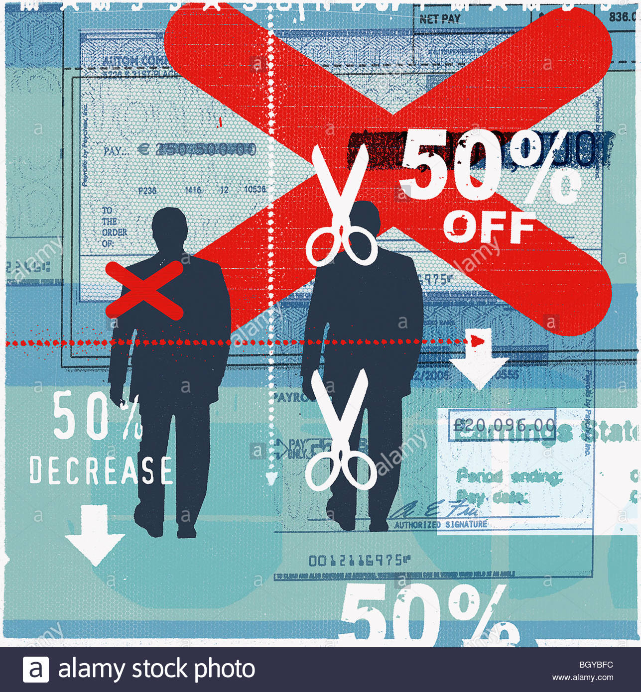 Businessmen with 50% off sign - Stock Image