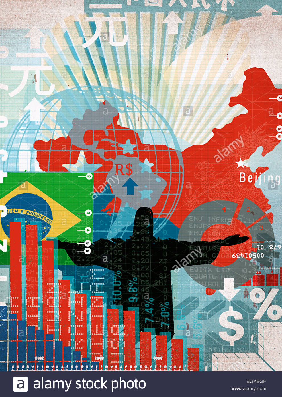 Montage of international maps and financial charts - Stock Image