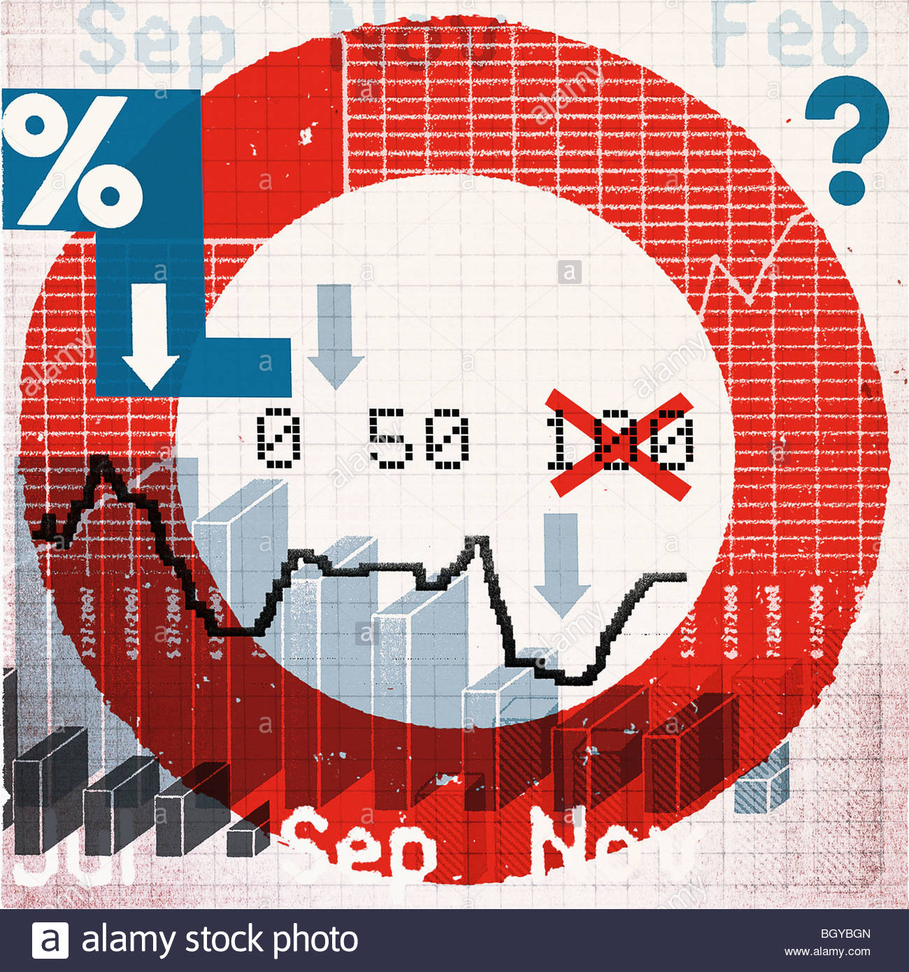 Montage of symbols and financial charts - Stock Image