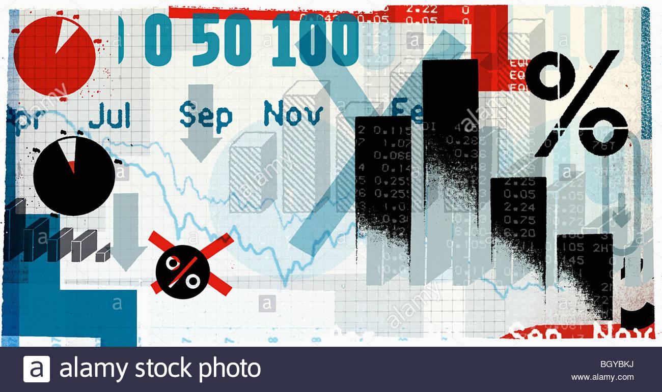 Montage of financial symbols - Stock Image