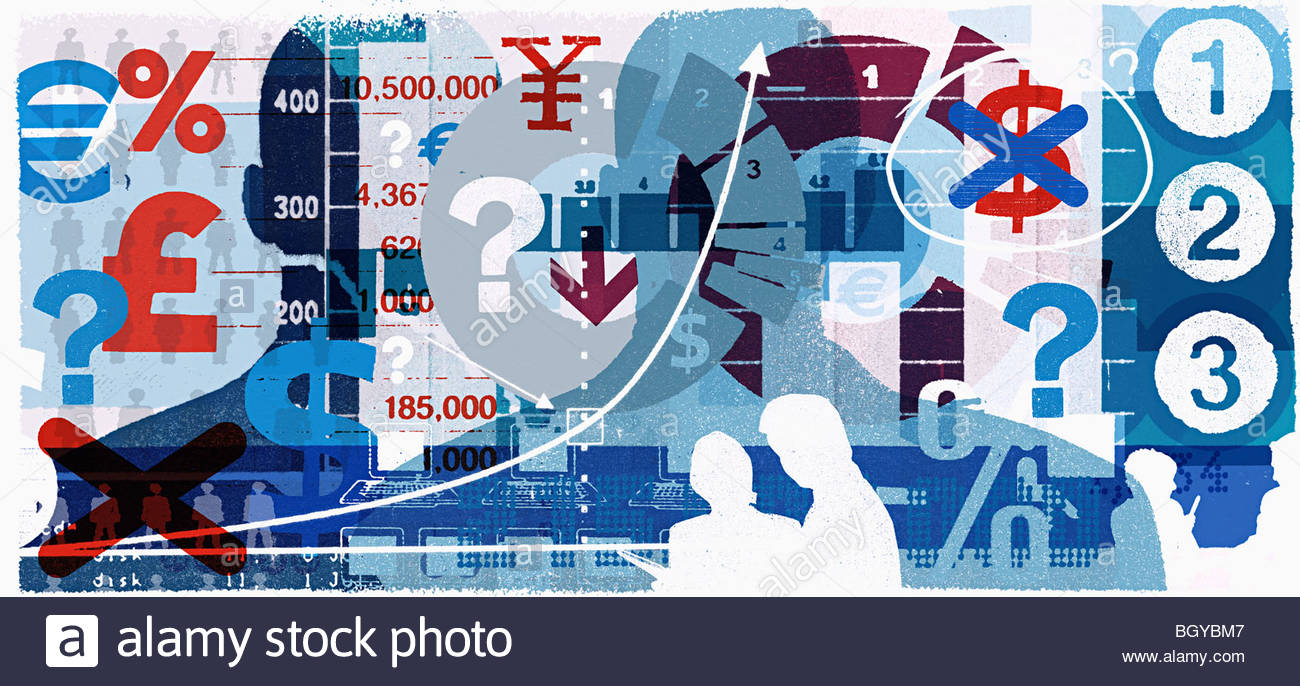 Montage of currency images - Stock Image