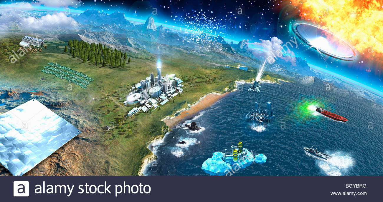 View of earth from space - Stock Image