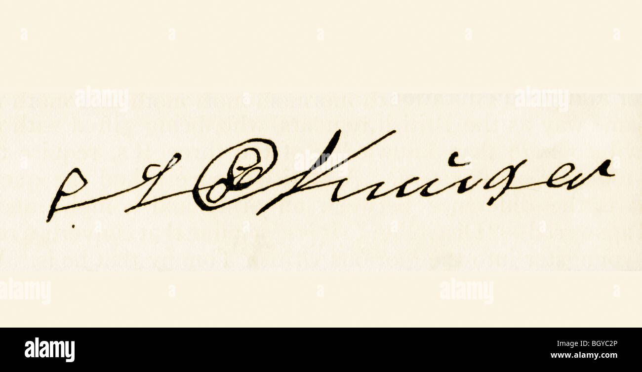 Signature of Stephanus Johannes Paulus Kruger, 1825 to 1904. - Stock Image