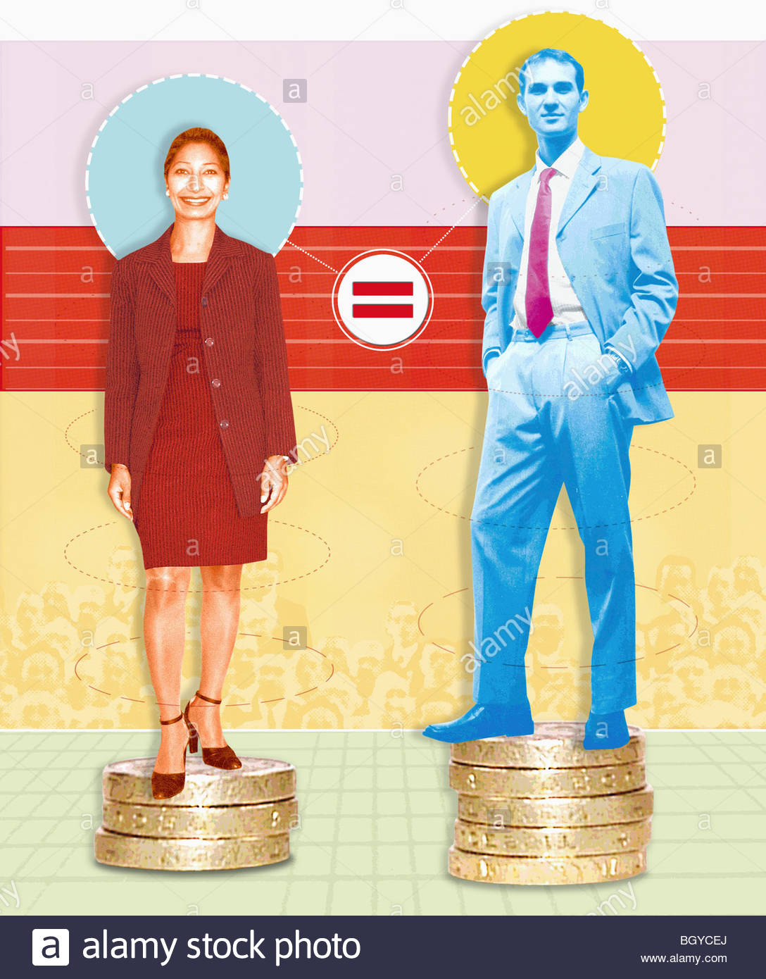 Unequal businessman and businesswoman - Stock Image