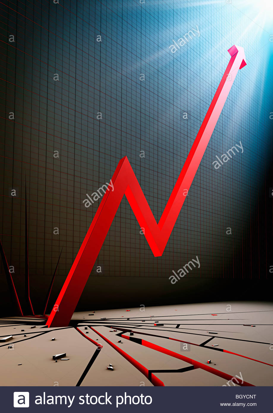 Arrow cracking ground - Stock Image